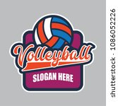 volley ball logo with text... | Shutterstock .eps vector #1086052226