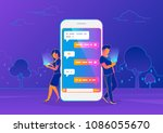 chat messenger concept of young ... | Shutterstock .eps vector #1086055670
