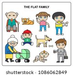 flat family. colorful... | Shutterstock .eps vector #1086062849