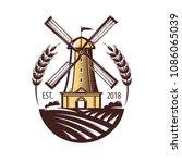 mill  windmill  eat wheat ... | Shutterstock .eps vector #1086065039