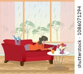 rainy spring day. the girl lies ... | Shutterstock .eps vector #1086071294