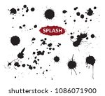 set of paint stains.vector... | Shutterstock .eps vector #1086071900