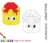 gift round box to be colored ... | Shutterstock .eps vector #1086079508