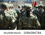 woman in army. polish army... | Shutterstock . vector #1086086786