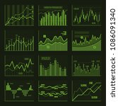 green business charts and... | Shutterstock . vector #1086091340