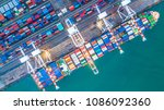 aerial top view container cargo ... | Shutterstock . vector #1086092360