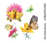 set of watercolor butterflies... | Shutterstock . vector #1086094280