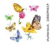 watercolor butterflies... | Shutterstock . vector #1086094619