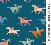 various of girl riding horses.... | Shutterstock .eps vector #1086097559
