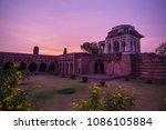 Small photo of Mandu India, afghan ruins of islam kingdom, mosque monument and muslim tomb. Colorful sky at sunrise, Ashrafi Mahal.