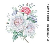 watercolor floral bouquet with... | Shutterstock . vector #1086111059