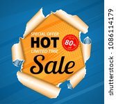 sale banner on realistic hole... | Shutterstock .eps vector #1086114179
