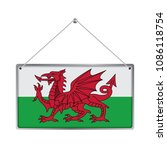 flag of wales. the symbol of... | Shutterstock .eps vector #1086118754