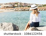 beautiful blond woman looking... | Shutterstock . vector #1086122456