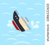 color image for design ship in... | Shutterstock .eps vector #1086122633