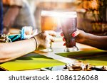 two friends hit with glasses... | Shutterstock . vector #1086126068