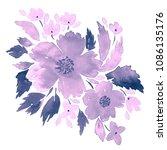 watercolor bouquet of flowers.... | Shutterstock . vector #1086135176