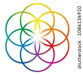 seed of life in rainbow colors. ... | Shutterstock .eps vector #1086136910