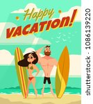 vector young couple characters. ... | Shutterstock .eps vector #1086139220