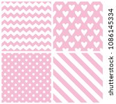 Tile vector pattern with chevron zig zag, polka dots, hearts and stripe background | Shutterstock vector #1086145334