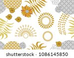 golden and silver floral... | Shutterstock .eps vector #1086145850