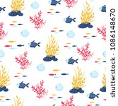 fish cartoon seamless pattern | Shutterstock .eps vector #1086148670