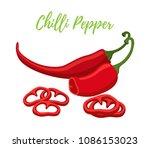 vector set of chilli pepper...   Shutterstock .eps vector #1086153023