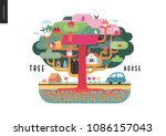 tree house concept   a tree... | Shutterstock .eps vector #1086157043