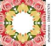 floral frame flowers design. | Shutterstock .eps vector #1086157676