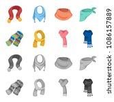 various kinds of scarves ... | Shutterstock .eps vector #1086157889
