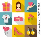 happy mama day icon set. flat... | Shutterstock . vector #1086161300