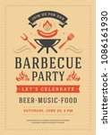 barbecue party vector flyer or... | Shutterstock .eps vector #1086161930