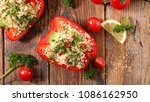 stuffed bell pepper with... | Shutterstock . vector #1086162950
