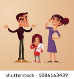 angry sad parents man woman... | Shutterstock .eps vector #1086163439