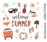 summer paradise poster with...   Shutterstock .eps vector #1086174530