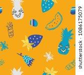 cute summer pattern  ...   Shutterstock .eps vector #1086175079
