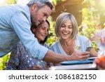 in summer. group of friends... | Shutterstock . vector #1086182150