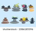 pyramid from sea pebble relax... | Shutterstock .eps vector #1086185396