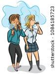 teenage girls vaping a e... | Shutterstock .eps vector #1086185723