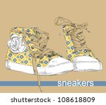 hand drawing sneakers shoes. | Shutterstock .eps vector #108618809