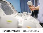 women's hand hold ultrasound...   Shutterstock . vector #1086190319