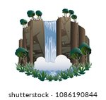 waterfall. cartoon landscape... | Shutterstock .eps vector #1086190844