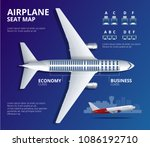 chart airplane seat  plan  of... | Shutterstock .eps vector #1086192710