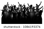 crowd of cheerful people ... | Shutterstock .eps vector #1086193376