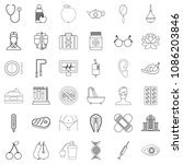seafood icons set. outline... | Shutterstock . vector #1086203846