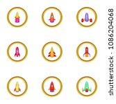 spacecraft icons set. cartoon... | Shutterstock . vector #1086204068
