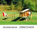 Small photo of Rhinebeck, NY, USA September 4, 2009 A Caudron G III, one of the earliest flying machines built, prepares for take off from the Rhinebeck Aerodrome in Rhinebeck, New York
