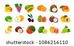 fruits and berries  set of... | Shutterstock .eps vector #1086216110