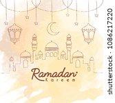 ramadan kareem template. hand... | Shutterstock .eps vector #1086217220