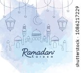 ramadan kareem template. hand... | Shutterstock .eps vector #1086217229